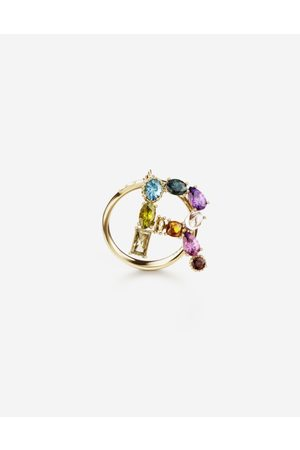 Dolce & Gabbana Women Necklaces - Jewelry - Rainbow alphabet R ring in yellow with multicolor fine gems female 52