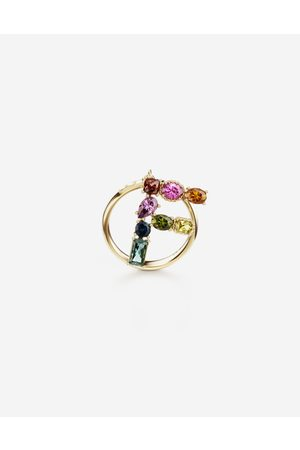 Dolce & Gabbana Women Necklaces - Jewelry - Rainbow alphabet F ring in yellow with multicolor fine gems female 50