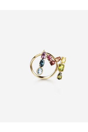 Dolce & Gabbana Women Necklaces - Jewelry - Rainbow alphabet M ring in yellow with multicolor fine gems female 55