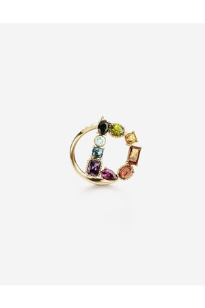 Dolce & Gabbana Jewelry - Rainbow alphabet D ring in yellow with multicolor fine gems female 46