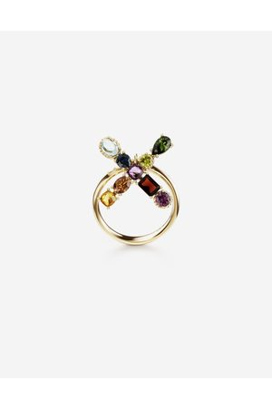 Dolce & Gabbana Jewelry - Rainbow alphabet X ring in yellow with multicolor fine gems female 55