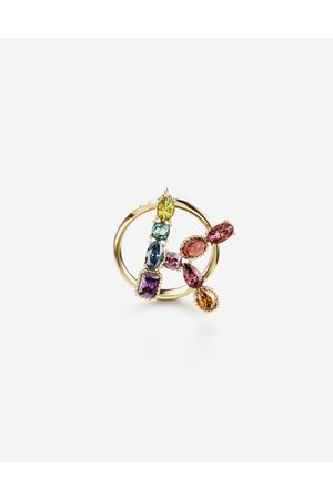 Dolce & Gabbana Jewelry - Rainbow alphabet K ring in yellow with multicolor fine gems female 56