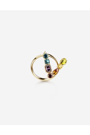 Dolce & Gabbana Jewelry - Rainbow alphabet V ring in yellow with multicolor fine gems female 53