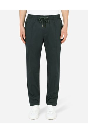 Dolce & Gabbana Men Trousers - Trousers and Shorts - Stretch cotton jogging pants with plate male 44