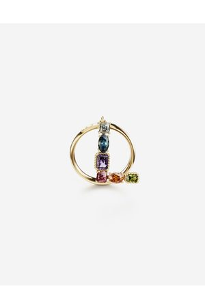 Dolce & Gabbana Jewelry - Rainbow alphabet L ring in yellow with multicolor fine gems female 55