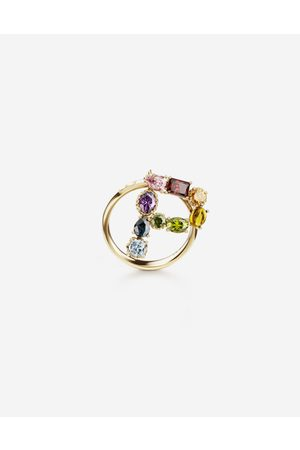 Dolce & Gabbana Women Necklaces - Jewelry - Rainbow alphabet P ring in yellow with multicolor fine gems female 54