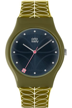 Orla Kiely Bobby Black Sunray Dial Green Stem Print Strap Watch