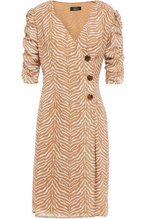 De La Vali Woman Minnesota Button-detailed Tiger-print Crepe De Chine Dress Sand Size 10