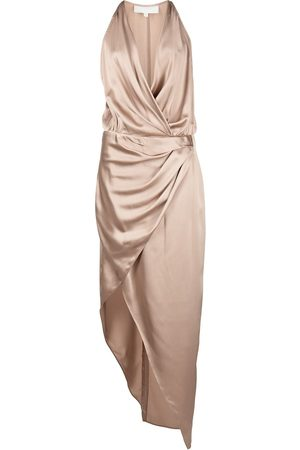 Michelle Mason Women Asymmetrical Dresses - Asymmetric halterneck silk dress