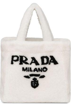Prada Women Handbags - Logo-print shearling tote bag