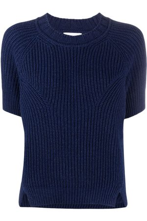 Barrie Short sleeve ribbed knitted top