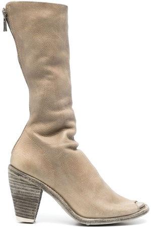 GUIDI Peep-toe mid-calf boots - Neutrals