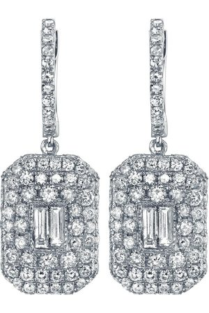 Shay 18kt white gold pave diamond baguette drop earrings