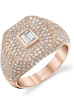 Shay 18kt rose gold Champion pave diamond baguette ring