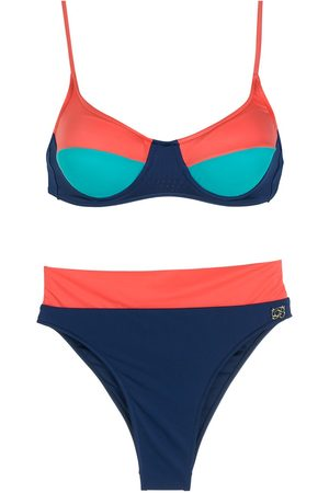 Brigitte Colour-block high-waist bikini set
