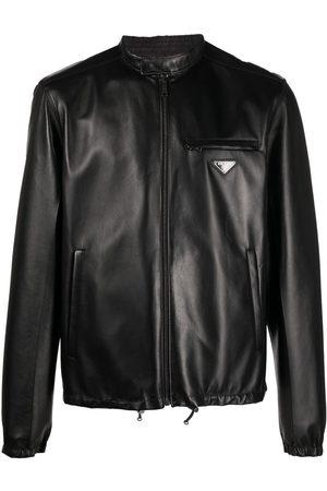 Prada Reversible logo-plaque leather jacket