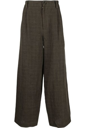 ZIGGY CHEN Checked wide-leg trousers
