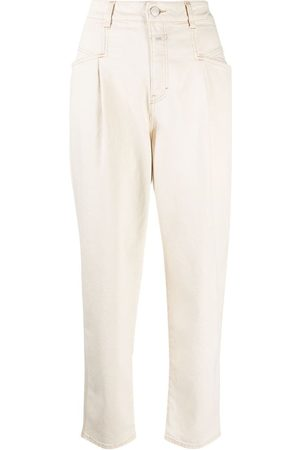 Closed High-waisted tapered trousers - Neutrals