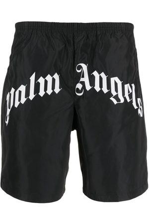 Palm Angels Men Swim Shorts - Logo print swimming shorts