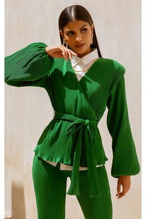 PRETTYLITTLETHING Women Wrap Tops - Shoulder Pad Wrap Plisse Blouse