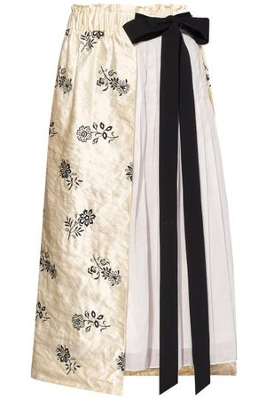 Erdem Elfrida Floral-embroidered Satin And Voile Skirt - Womens - Ivory Multi