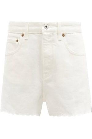 Miu Miu High-rise Scalloped Denim Shorts - Womens