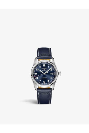 Longines L3.811.4.93.0 Spirit stainless-steel and leather automatic watch