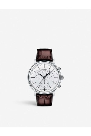 Tissot T1224171601100 Carson stainless steel and leather automatic watch