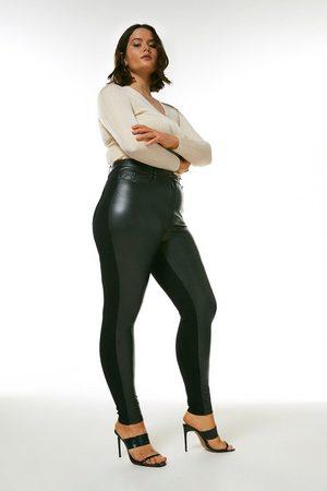 Karen Millen UK & IE Women Trousers - Karen Millen Curve Faux Leather Ponte 5 Pocket Jean