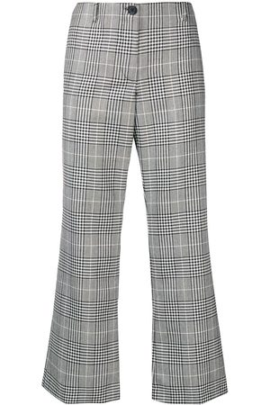 AALTO Women Wide Leg Trousers - Cropped checked flared trousers