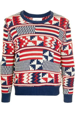 Ports V Sweatshirts - Geometric-print knitted jumper