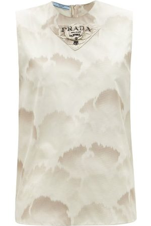 Prada Triangle Logo-patch Cloud-print Silk-taffeta Top - Womens - Multi