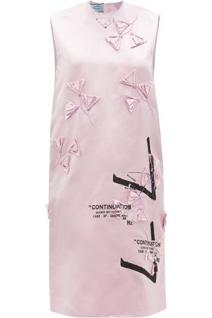 Prada Floral-appliqué Silk-duchess Shift Dress - Womens