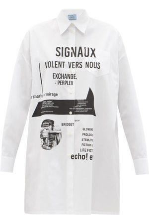 Prada Slogan-print Cotton-poplin Shirt Dress - Womens