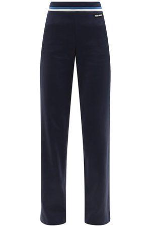 Miu Miu Striped-waist Jersey Trousers - Womens - Navy