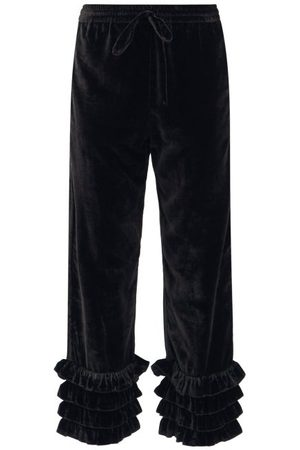 Muzungu Sisters Women Trousers - Talitha Ruffled Silk-blend Velvet Cropped Trousers - Womens