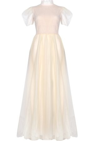 True Decadence Women Maxi Dresses - Cream Tulle With Sheer Sleeves Maxi Dress