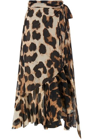Ganni Woman Ruffled Floral-print Stretch-mesh Midi Wrap Skirt Animal Print Size 36