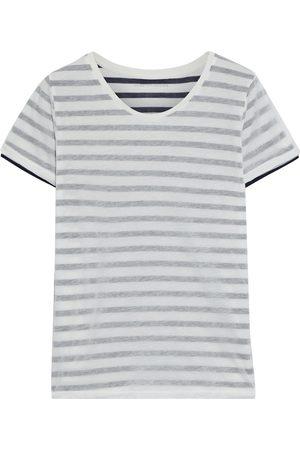 Majestic Women Short Sleeve - Woman Layered Striped Cotton-jersey T-shirt Off- Size 1