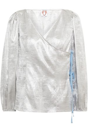 Shrimps Women Wrap Tops - Woman Cordelia Floral-print Lamé Wrap Blouse Size 10