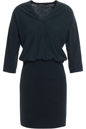 James Perse Woman Paneled Stretch-cotton And Ribbed Jersey Mini Dress Dark Size 0