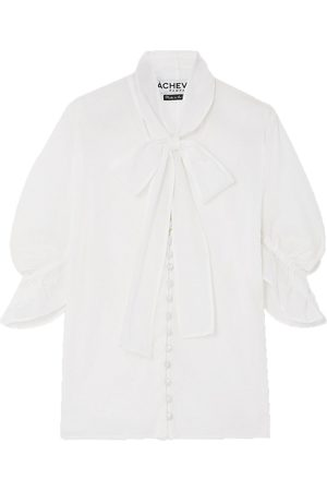Acheval Pampa Woman Chiquita Ruffled Pussy-bow Cotton-voile Blouse Size L