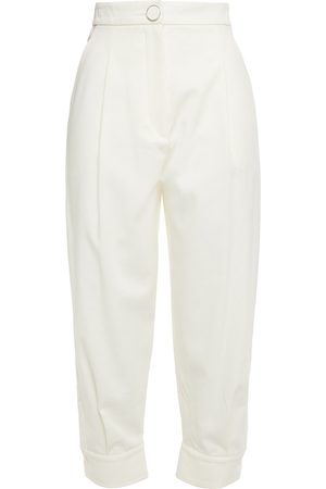 Emilio Pucci Woman Stretch-cotton Twill Tapered Pants Ivory Size 38