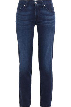 7 for all Mankind Woman Mid-rise Slim-leg Jeans Dark Denim Size 24