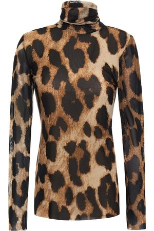 Ganni Woman Leopard-print Mesh Turtleneck Top Animal Print Size 32