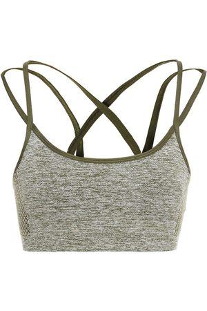 Reebok Woman Mélange Stretch Sports Bra Army Size 32