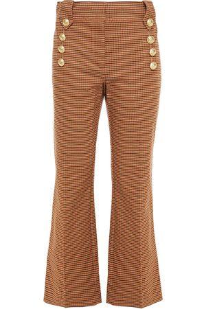 Derek Lam Woman Houndstooth Cotton-blend Twill Kick-flare Pants Sand Size 4