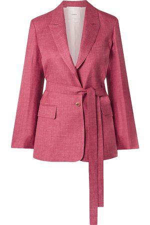 CASASOLA Woman Oscar Belted Organic Wool Silk And Linen-blend Blazer Fuchsia Size 38
