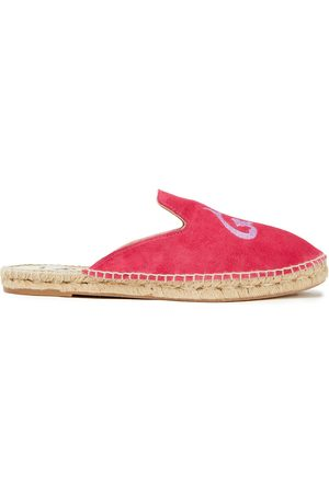 MANEBI Manebí Woman Hamptons Embroidered Suede Slippers Fuchsia Size 35