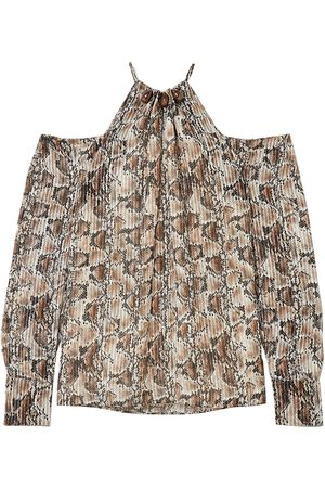 Altuzarra Woman Elijah Cold-shoulder Bead-embellished Snake-print Silk-blend Blouse Animal Print Size 36